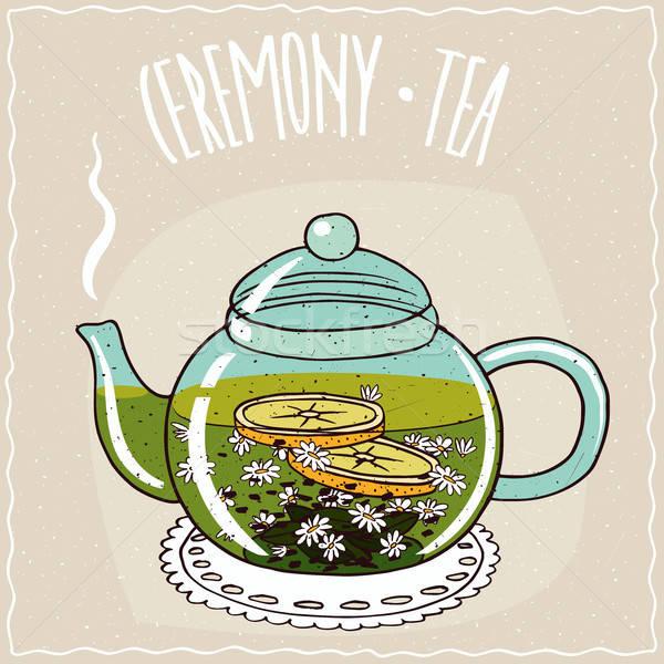 Cam demlik çay şeffaf sıcak Stok fotoğraf © alexanderandariadna