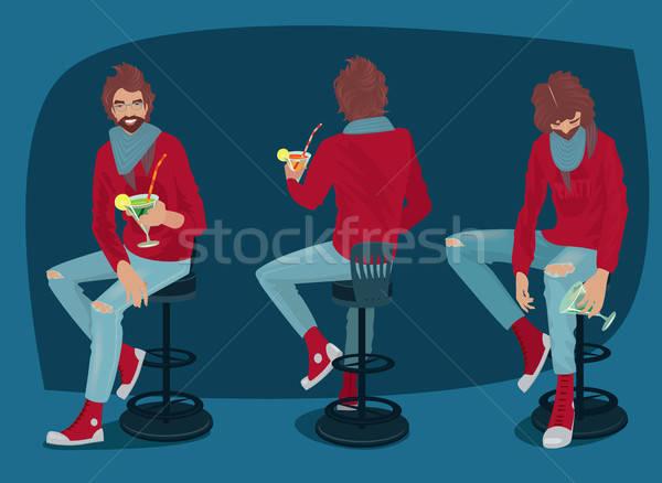 набор парень коктейль различный молодым человеком Сток-фото © alexanderandariadna