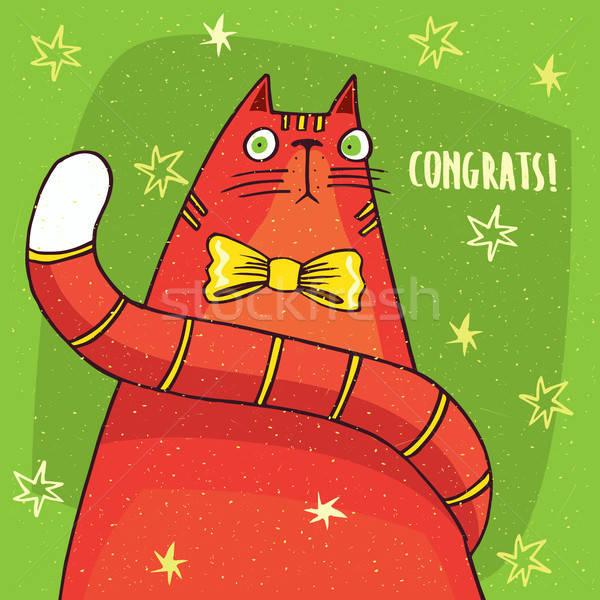 Kot żółty łuk gratulacja funny czerwony Zdjęcia stock © alexanderandariadna