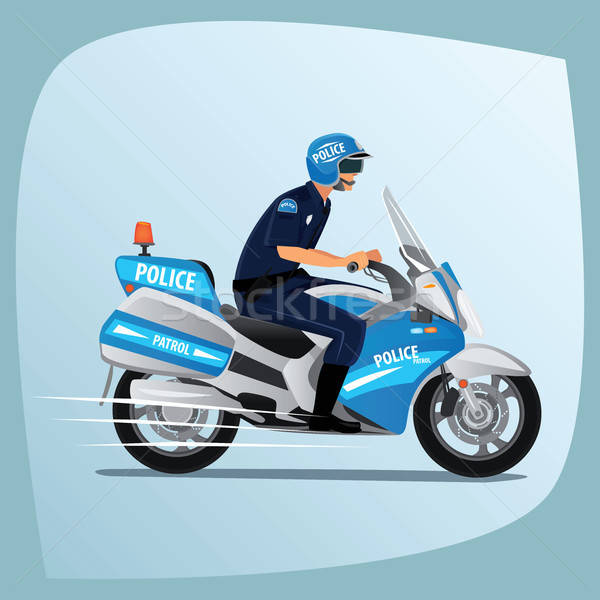 Police officer or policeman riding on motorcycle Stock photo © alexanderandariadna