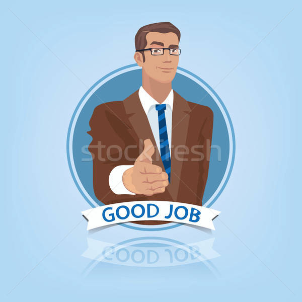 Stock fotó: üzletember · ki · kéz · hello · fiatal · menedzser