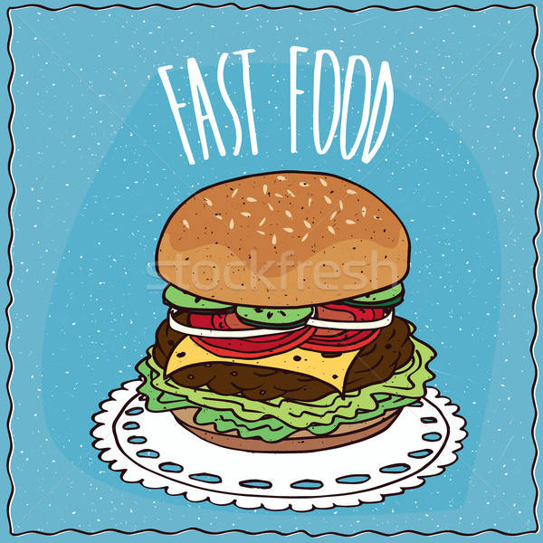 Classico cheeseburger cartoon stile cetriolo Foto d'archivio © alexanderandariadna
