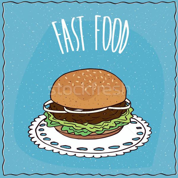 Klasyczny hamburger wykonany ręcznie cartoon stylu cebula Zdjęcia stock © alexanderandariadna