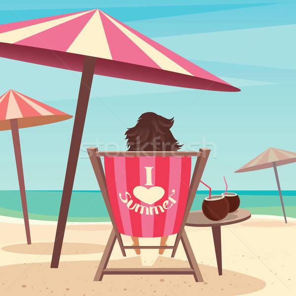 девушки пляж сидят палуба Председатель зонтик Сток-фото © alexanderandariadna