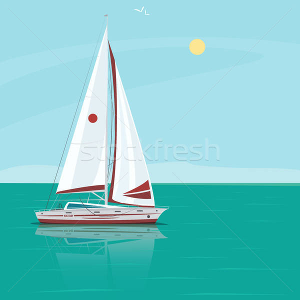 Lonely sailing yacht in the ocean on a sunny day Stock photo © alexanderandariadna