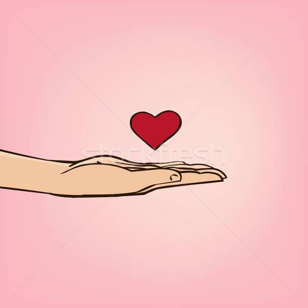 Romantikus nyilatkozat szeretet férfi kéz szív Stock fotó © alexanderandariadna