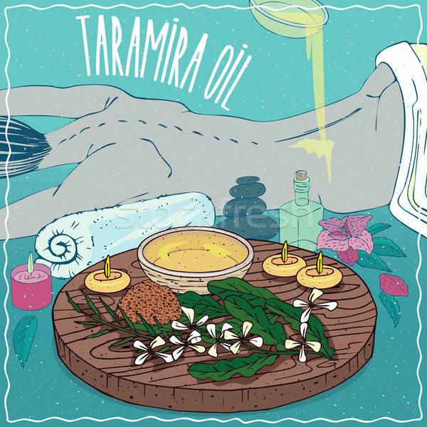 Taramira oil used for body massage Stock photo © alexanderandariadna