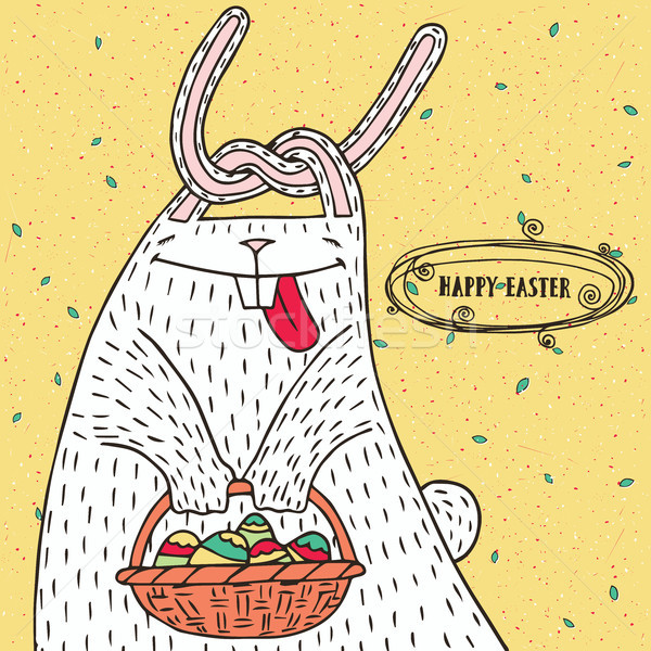 Easter bunny with Easter basket and Easter eggs Stock photo © alexanderandariadna