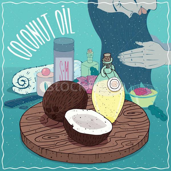 Coconut oil used for hair care Stock photo © alexanderandariadna