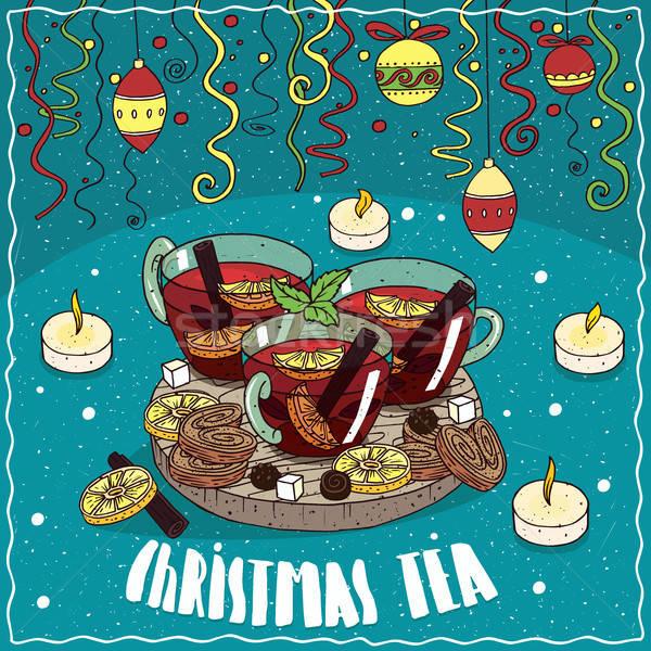 Christmas tea with Christmas toys and confetti Stock photo © alexanderandariadna