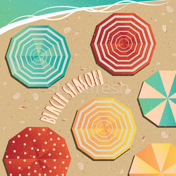 Foto d'archivio: Apertura · spiaggia · stagione · ombrelli · mare