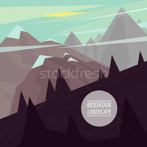 Górskich krajobraz stromy jesienią malowniczy modny Zdjęcia stock © alexanderandariadna