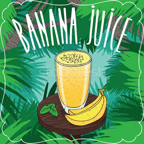 Stockfoto: Vers · banaan · sap · glas · rijp · vruchten