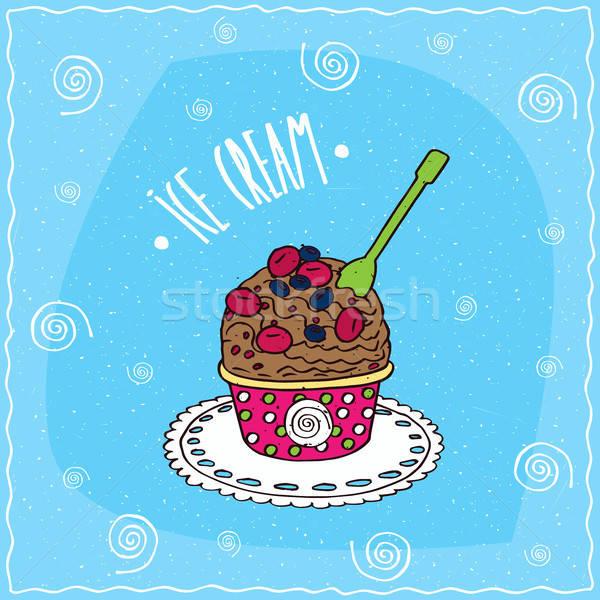 шоколадом черпать мороженым Кубок Ягоды бумаги Сток-фото © alexanderandariadna