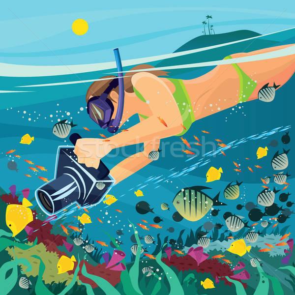 девушки занято подводного фотографии красивая девушка купальник Сток-фото © alexanderandariadna