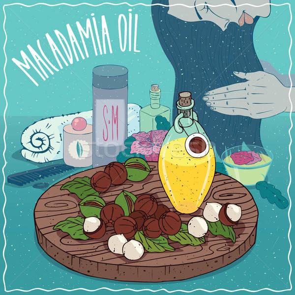 Macadamia oil used for hair care Stock photo © alexanderandariadna