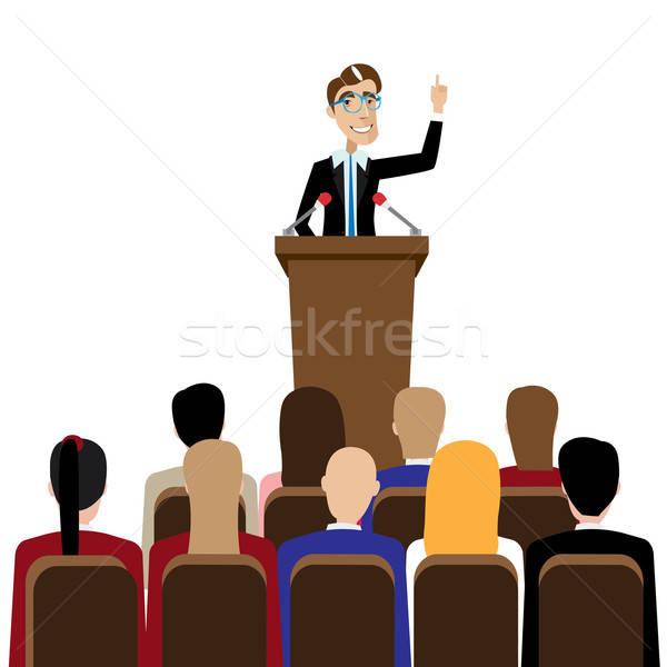 Businessman public speaking Stock photo © alexanderandariadna