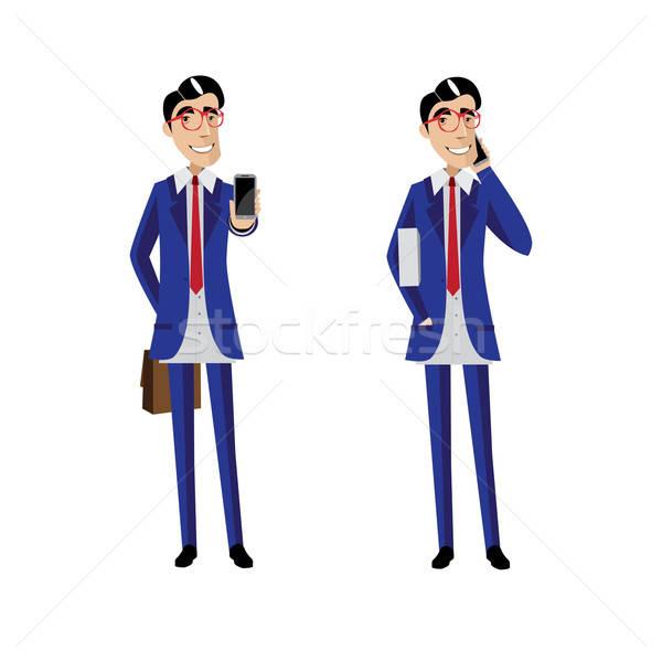 Twee zakenlieden mobiele telefoons witte ingesteld man Stockfoto © alexanderandariadna