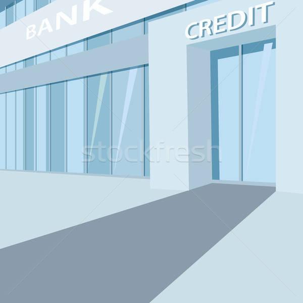Exterior of the glass bank building facade Stock photo © alexanderandariadna
