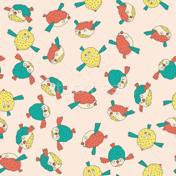 Pattern with cute birds in pink color Stock photo © alexanderandariadna