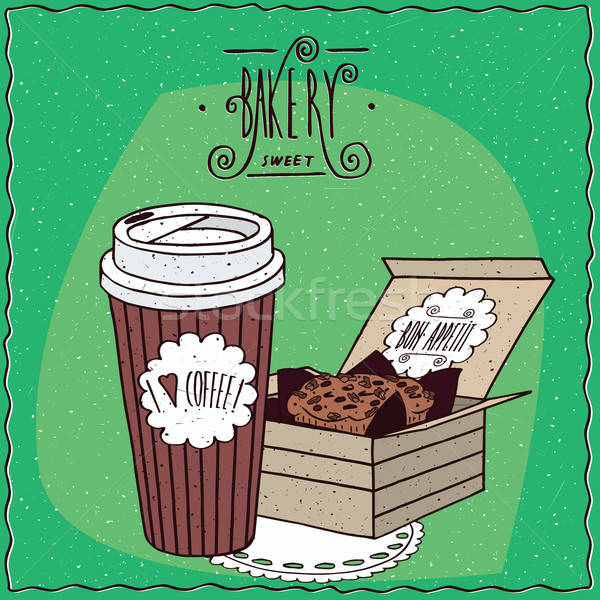 Coffee in paper cup and cake in carton box Stock photo © alexanderandariadna