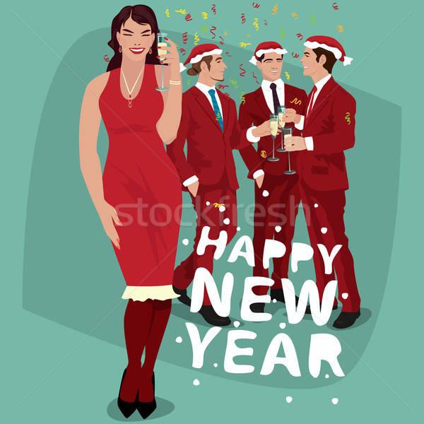 Nő férfiak piros ünnepel új év vörös ruha Stock fotó © alexanderandariadna