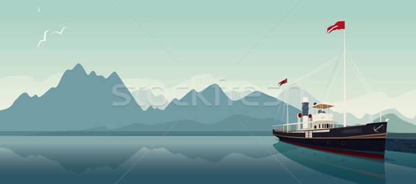 Retro przyjemność łodzi stylu starych parowiec Zdjęcia stock © alexanderandariadna