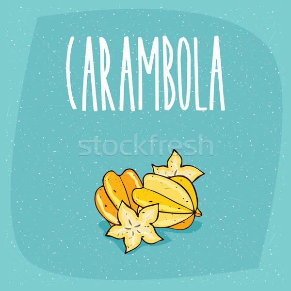 Isolated ripe starfruit fruits or carambola Stock photo © alexanderandariadna