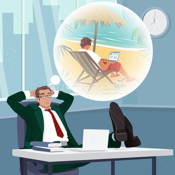Office worker dreams of working on tropical beach Stock photo © alexanderandariadna
