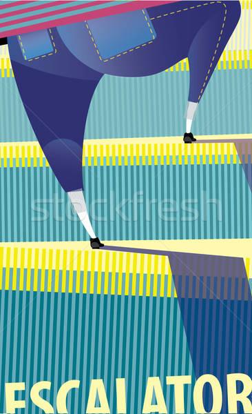 эскалатор женщину цвета девушки ходьбе пожилого Сток-фото © alexanderandariadna