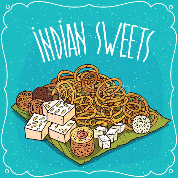 Traditional popular sweets of Indian cuisine Stock photo © alexanderandariadna