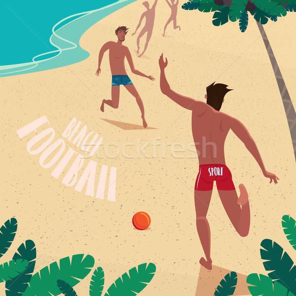 Garçons jouer balle mer Guy plage Photo stock © alexanderandariadna
