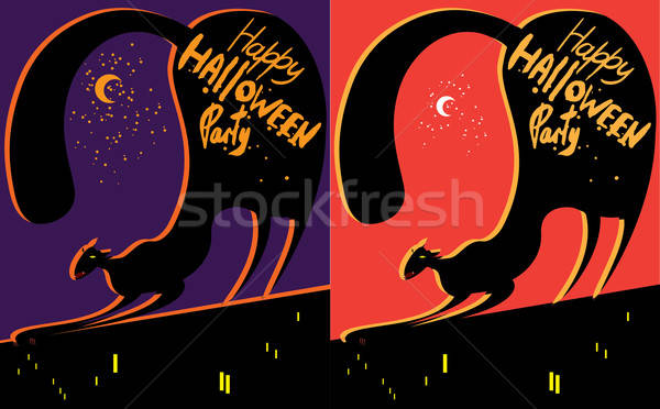 Gato techo color establecer dos halloween Foto stock © alexanderandariadna