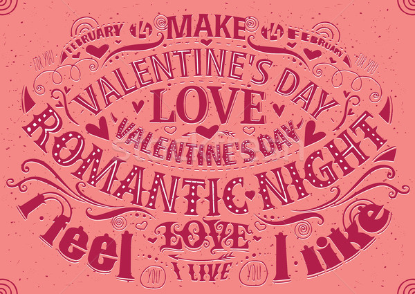 Valentine's Day postcard with lettering Stock photo © alexanderandariadna