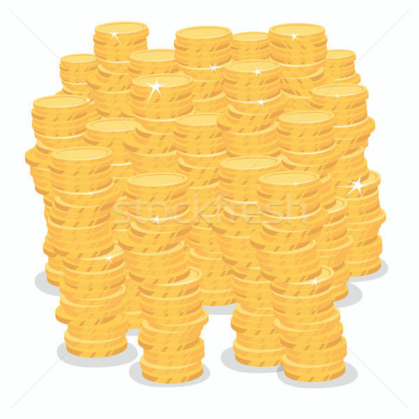 Izolált nagy köteg arany érmék pénz fehér Stock fotó © alexanderandariadna