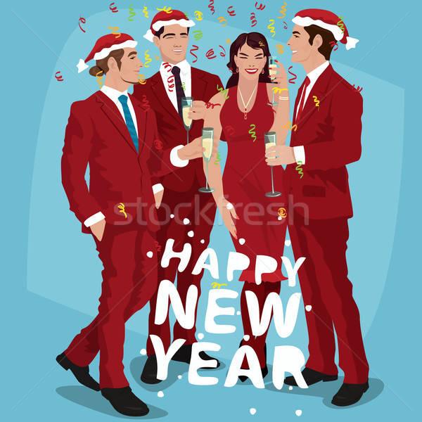 Férfiak nő piros ünnepel új év divatos Stock fotó © alexanderandariadna