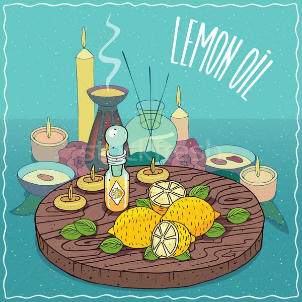 Limon yağ kullanılmış aromaterapi cam Stok fotoğraf © alexanderandariadna