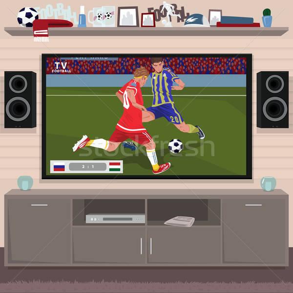 Футбол игры домой телевизор большой интерьер Сток-фото © alexanderandariadna