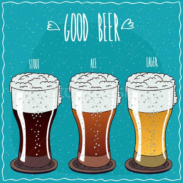 Ingesteld verschillend bier handgemaakt cartoon stijl Stockfoto © alexanderandariadna