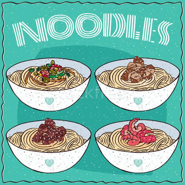 Set of four Asian noodles Ramen or Udon Stock photo © alexanderandariadna