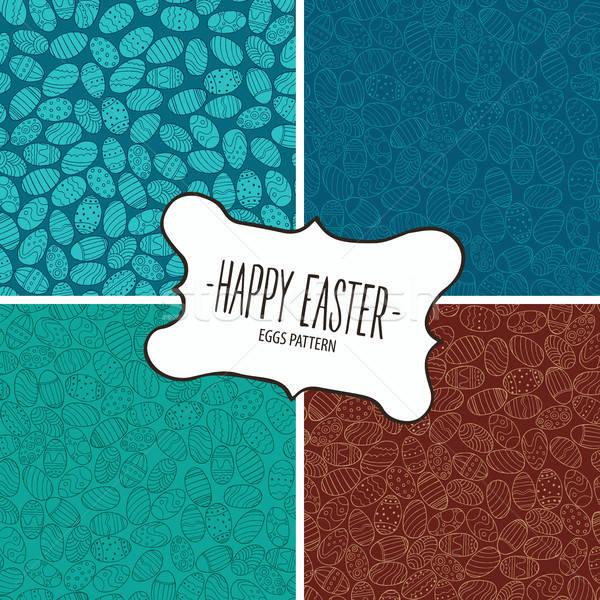 Ingesteld patronen paaseieren vrolijk pasen Pasen ontwerp Stockfoto © alexanderandariadna