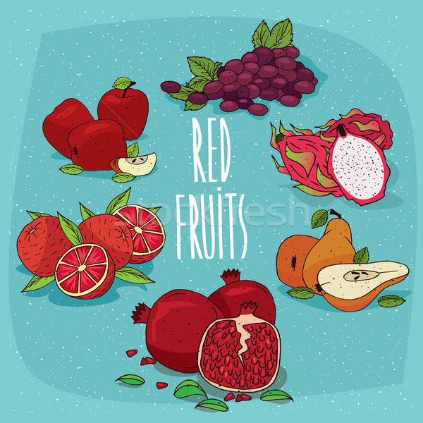 Szett izolált étel termékek piros gyümölcsök Stock fotó © alexanderandariadna