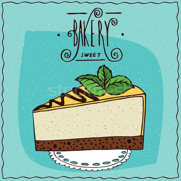 Sajttorta hazugság szalvéta gyönyörű darab torta Stock fotó © alexanderandariadna
