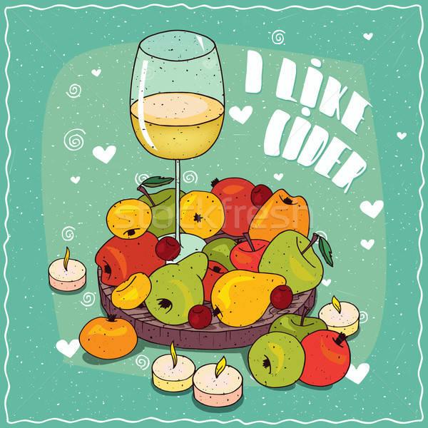 Almabor körték almák fa deszka üveg színes Stock fotó © alexanderandariadna