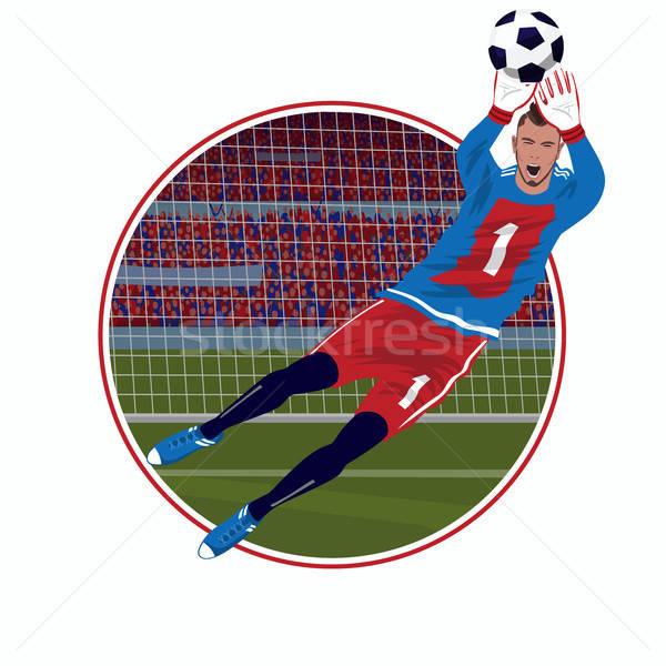 эмблема вратарь мяча наклейку Футбол рук Сток-фото © alexanderandariadna