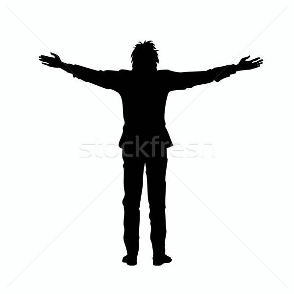 Isolated silhouette of man with outstretched arms Stock photo © alexanderandariadna