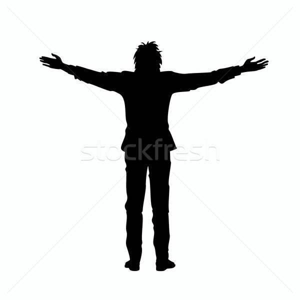 Izolált sziluett férfi karok fekete kiemelt Stock fotó © alexanderandariadna
