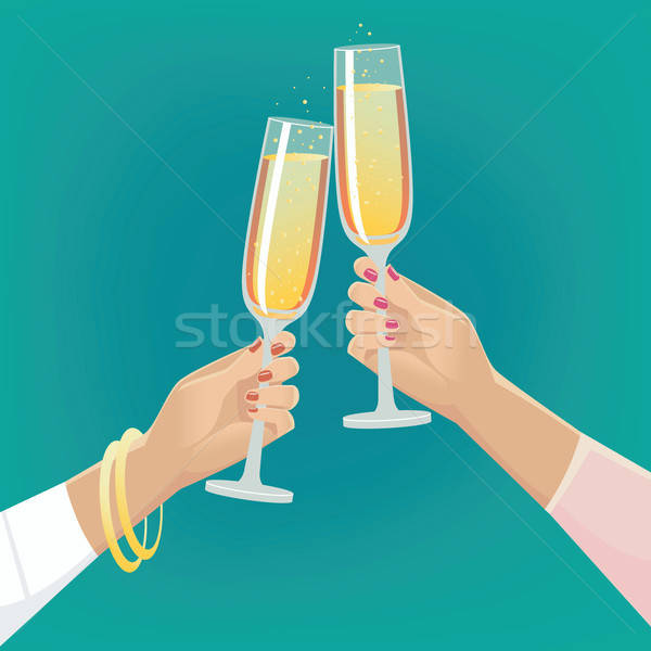Girlfriends clink glasses of champagne Stock photo © alexanderandariadna