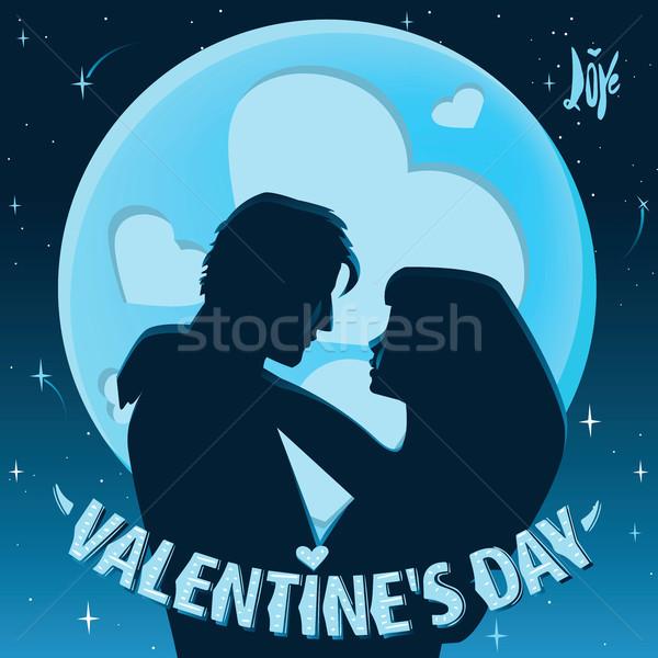 バレンタインデー デート カップル 背景 月 ストックフォト © alexanderandariadna