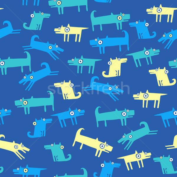 Hond patroon Blauw naadloos grappig huisdieren Stockfoto © alexanderandariadna